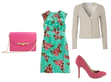 beige blazer over a green floral dress