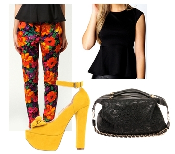 bright yellow pumps to balance a floral pant