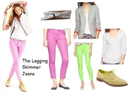 colored skimmer denim pants