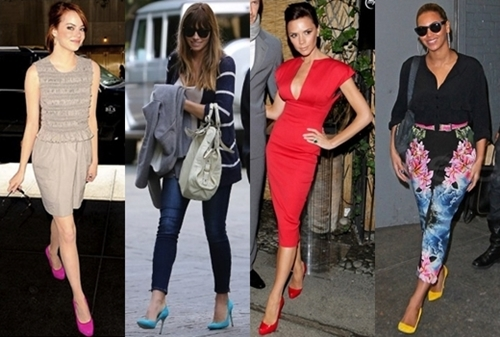how to wear bold colored pumps