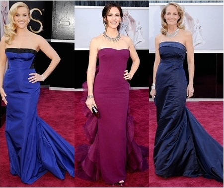 oscar red carpet 2013 tube dresses with trail