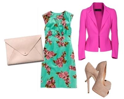 pink blazer over a green floral dress