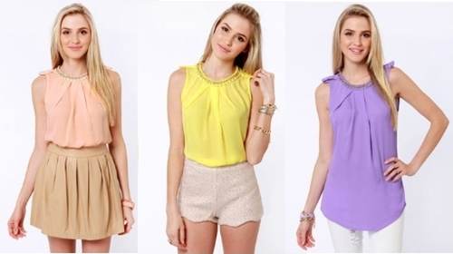 sleeveless colored tops for spring