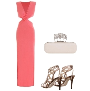 Coral Cross Neck Cut Out Maxi Dress