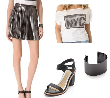 How to Wear Pleated Mini Skirt