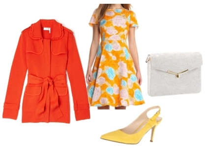 Orange Colored Coat Over Yellow Print Dress