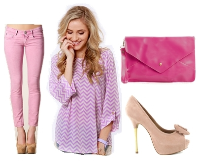 pink jeans and purple top outfit