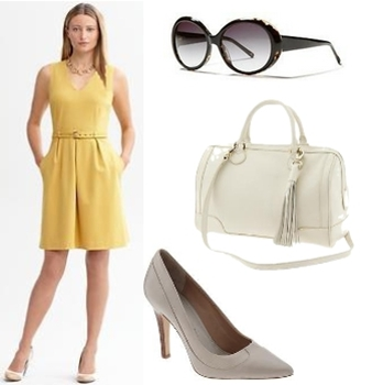 Yellow belted ponte sheath