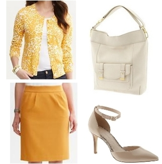 Yellow textured cotton pencil skirt for work