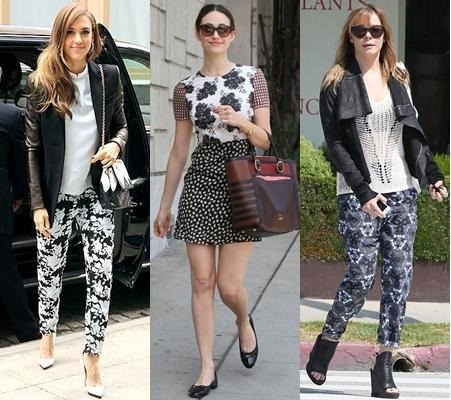 celebrities in monochromatic prints