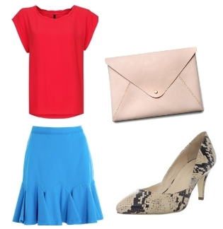 how to wear a bright skirt - blue