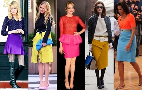 how to wear a bright skirt