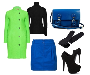neon green colored coat with blue skirt