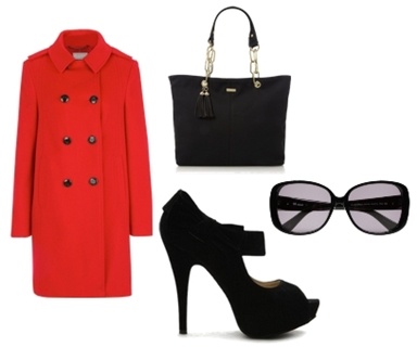 red colored coat with black heels