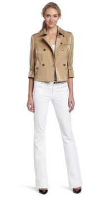 AK Anne Klein Womens Luster Cloth Cropped Trench Coat