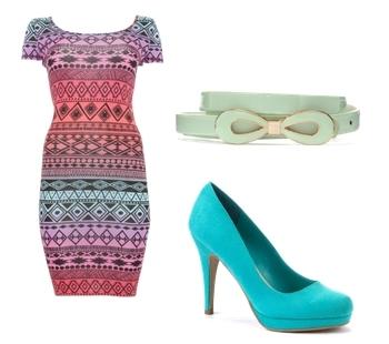 Aztec Cap Sleeve Mini Dress