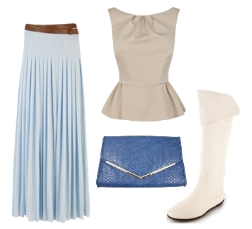 how to wear pleated maxi skirt with white flat boots