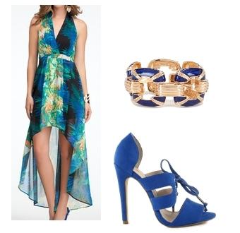 Hi-Lo Halter Maxi Print Dress