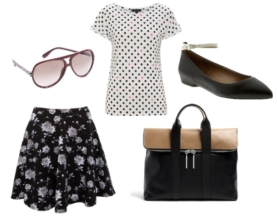 Monochrome Print Floral Skirt and Dotted Top
