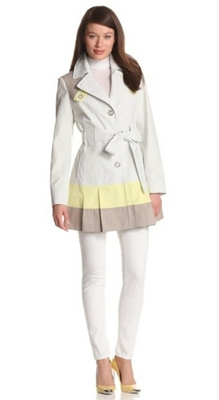 Via Spiga Womens Single Breasted Trench Coat With Color Blocking Detail