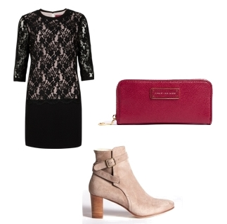 Wear Cream Short Suede Boots with Black Dress