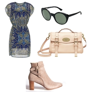 Wear Cream Short Suede Boots with Printed Dress