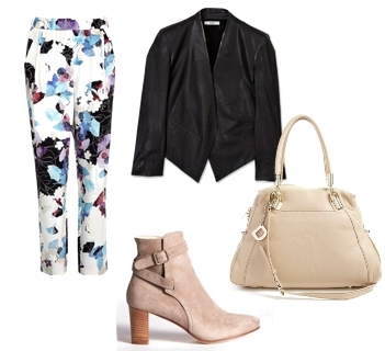 Wear Cream Short Suede Boots with Printed Pants