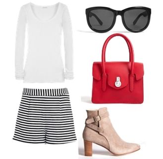 Wear Cream Short Suede Boots with Shorts