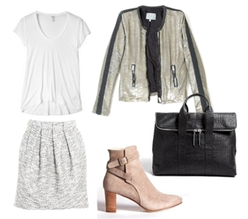 Wear Cream Short Suede Boots with Skirt