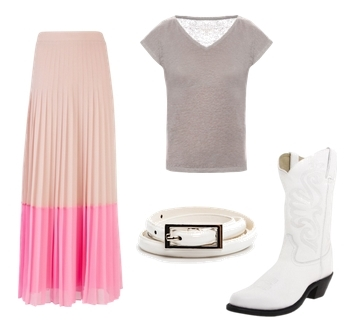 how to wear pleated maxi skirt with white cowboy boots