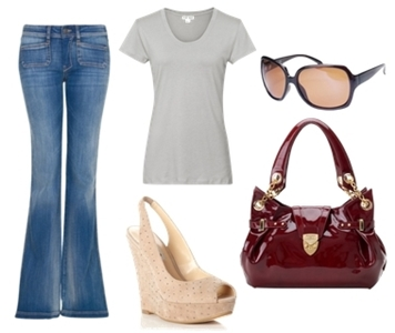 how to wear high-waisted flare jeans in spring
