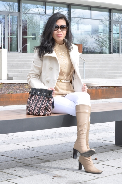 ivory coat over gold sweater