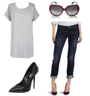 simple tee and jeans outfit