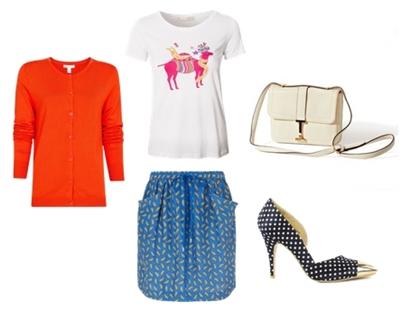 spring blue print skirt