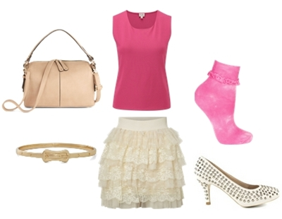 spring pink and lace skirt