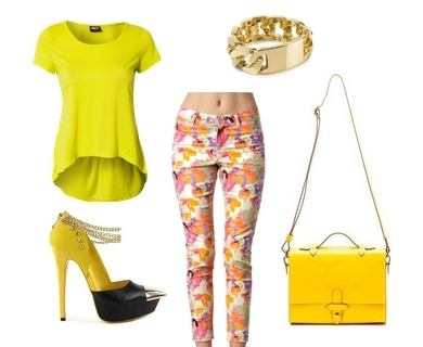 spring yellow and printed jeggings