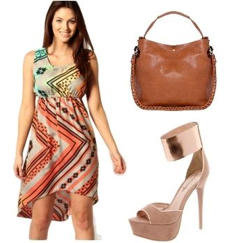 Aztec Print Dip Hem Crepe Dress