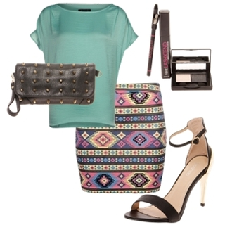 Aztec Print Jersey Bodycon Mini Skirt