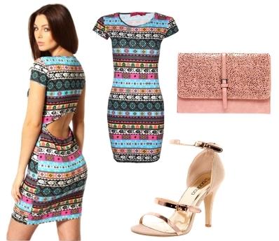 Aztec Printed Open Back Bodycon Dress