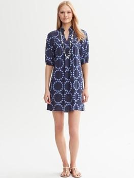 Banana Republic Circle Print Dress blue
