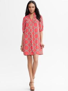 Banana Republic Circle Print Dress red
