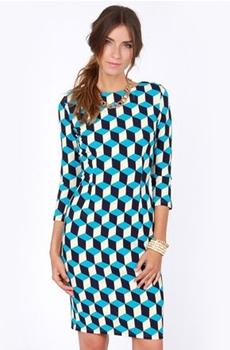 Blue Cube Print Dress