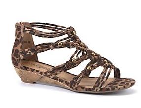 Brown Animal Print Beaded Sandals