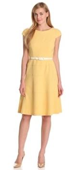 Cap-Sleeve Scoopneck Solid Dress