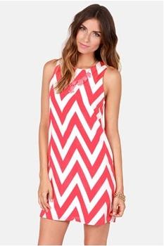 Chev Republic Coral Pink Chevron Print Dress