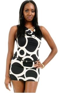 Circle Print Cowl Neck Mini Dress