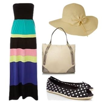 Colour Block Striped Maxi Dress