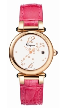 Ferragamo Women dillio Gold Ion-Plated White Dial Fuchsia Patent Leather Diamond Watch