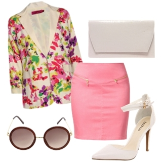 Floral Printed Blazer with Pink Skirt