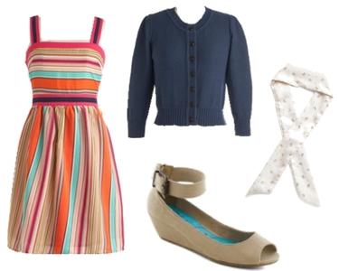 Fruit-Striped Retro Dress